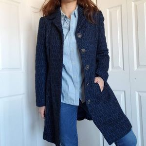 Merona Blue Jacquard Textured 3/4 Length Coat